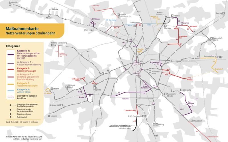 Karte der geplanten Netzerweiterungen der LVB